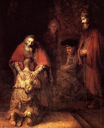 3 картинки изображающие притчу о блудном сыне: